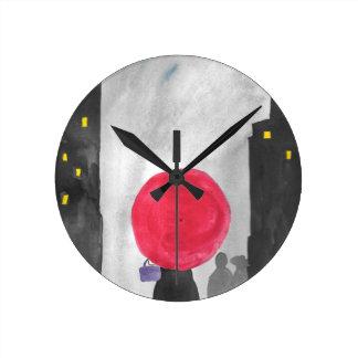 Red Umbrella Round Clock