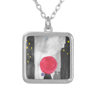 Red Umbrella Silver Plated Necklace