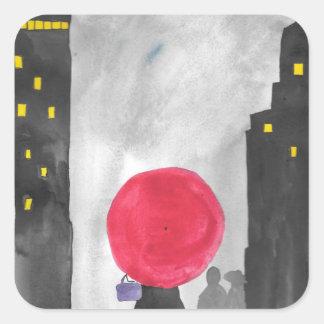 Red Umbrella Square Sticker
