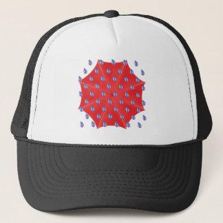 red umbrella trucker hat