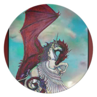 Red Unicorn Horse Pony Dragon Reptile Monster Plate