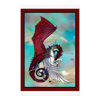 Red Unicorn Horse Pony Dragon Reptile Monster Stationery
