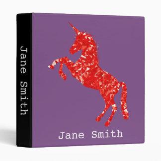 Red unicorn young girl's student folder vinyl binder