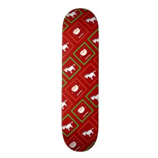 Red unicorns santa claus pattern custom skate board