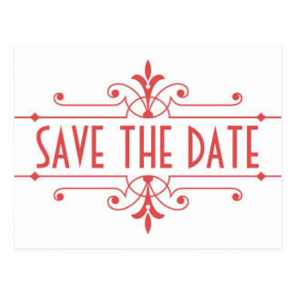 Red v2 Fancy Ornamental Save the Date Postcard