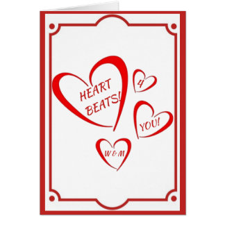 RED VALENTINE HEART BEATS CARD