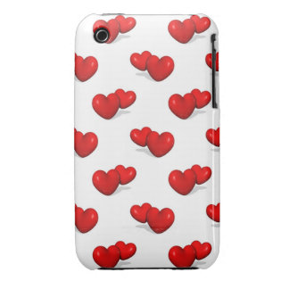 red valentine hearts over white background iPhone 3 cases