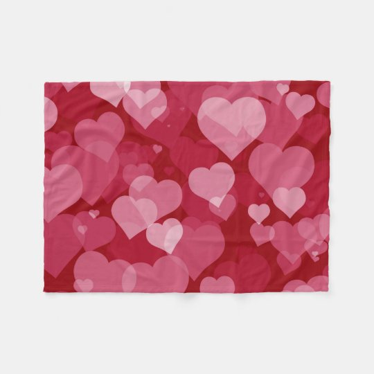 Red Valentine Hearts Small Fleece Blanket