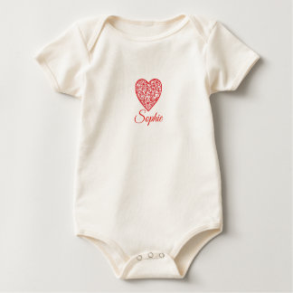 Red Valentine's Heart Personnalised Baby Bodysuit