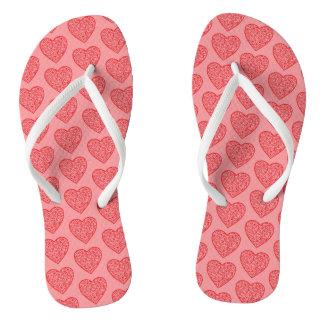 Red Valentine's Hearts Flip Flops