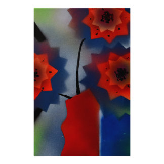 Red vase with flowers stationery