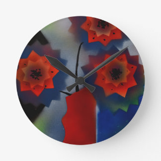 Red vase with flowers wallclocks