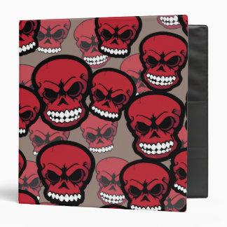 Red Vector Skull Camo Pattern School Binder