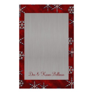 Red Velour & Silver Snowflakes Stationery Design