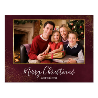 Red Velvet Christmas Photo Thank You Postcard
