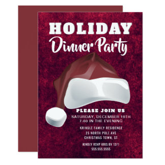 Red Velvet Santa Holiday Dinner Party Invitation