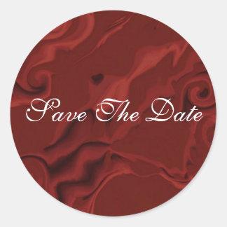 Red Velvet Swirl Save The Date Wedding Sticker