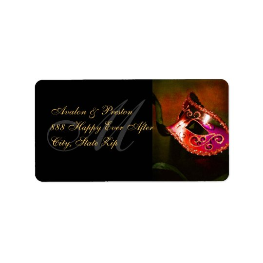 Red Venetian Masquerade Mask Address Label