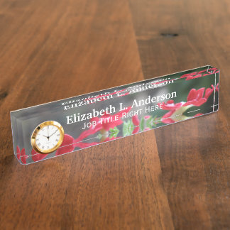 Red Verbena Desk Nameplate
