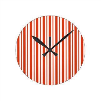 Red Verticall Pinstripe Round Clock