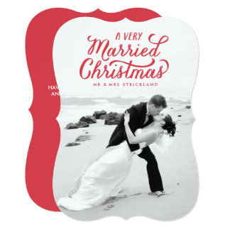 Red Very Married Christmas Newlywed Photo Card