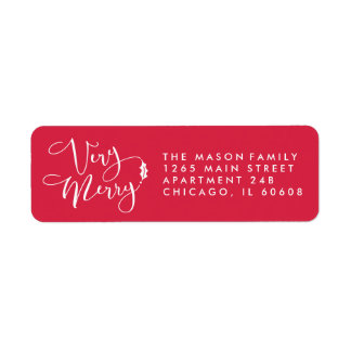 Red Very Merry Christmas Return Address Labels