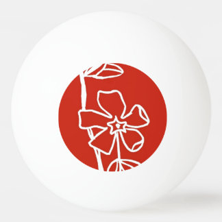 """""""Red Vinca"""" Floral Ping Pong Ball"""