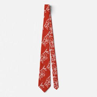 """""""Red Vinca"""" Flower Garden Neck Tie"""