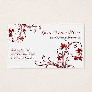 Red Vine/Maple Leaf Design Business Cards