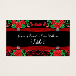 Red Vine Roses On Black Table Business Card
