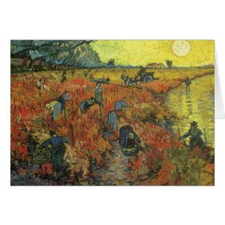 Red Vineyard by van Gogh Vintage Impressionism Art Card