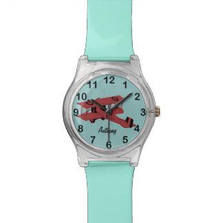 red vintage biplane toy watch