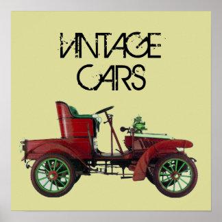 RED VINTAGE CAR /CLASSIC AUTO AUTOMOTIVE Cream Poster