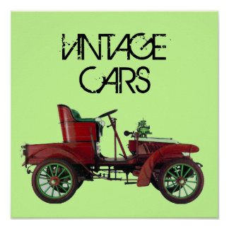 RED VINTAGE CAR /CLASSIC AUTO AUTOMOTIVE Green Poster