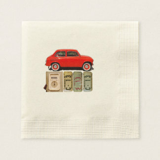 Red Vintage Car Disposable Napkins
