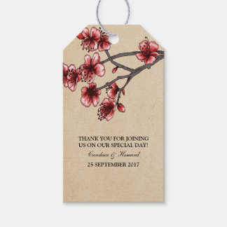 Red Vintage Cherry Blossoms Gift Tags
