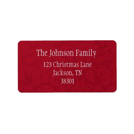 Red Vintage Christmas Address Labels