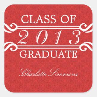 Red Vintage Damask 2013 Graduation Stickers