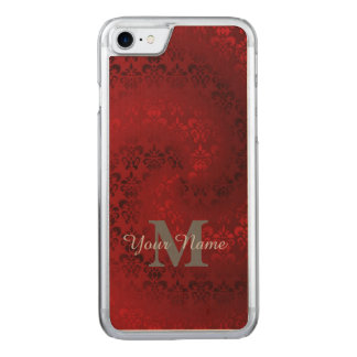 Red vintage damask monogram pattern carved iPhone 7 case