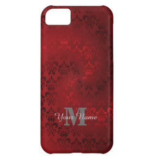Red vintage damask monogram pattern iPhone 5C cases