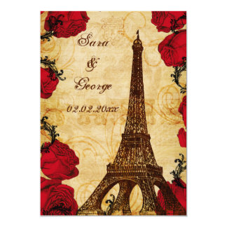 red vintage eiffel tower Paris save the date Card