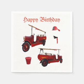 Red Vintage Fire Equipment And Birthday Logo, Paper Napkins