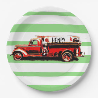Red Vintage Fire Truck 9 Inch Paper Plate