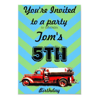 Red Vintage Fire Truck Card