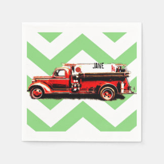 Red Vintage Fire Truck Paper Napkins