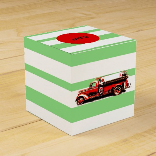 Red Vintage Fire Truck Party Favor Box