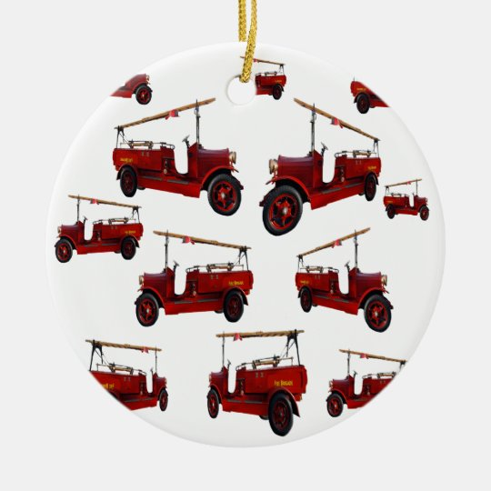 Red Vintage Fire Truck Pattern, Ceramic Ornament