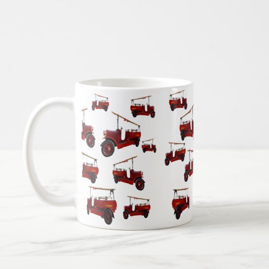 Red Vintage Fire Truck Pattern, Coffee Mug