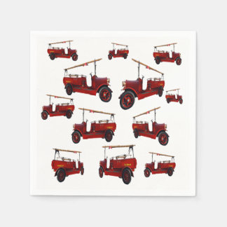 Red Vintage Fire Truck Pattern, Paper Napkins