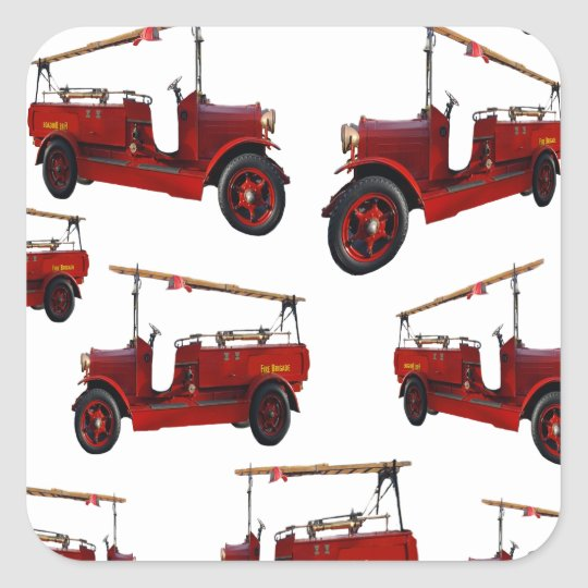 Red Vintage Fire Truck Pattern, Square Sticker